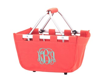SHIPS NEXT DAY--- Monogrammed Reusable Mini Market Tote Basket Coral --The Perfect Easter Basket--Free Monogramming--