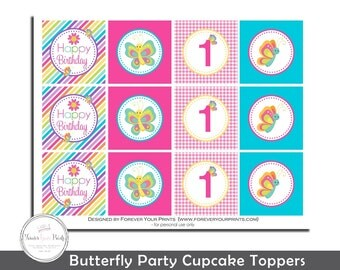 Butterfly Cupcake Toppers, Girls Butterfly Party, Butterfly Birthday, Butterfly Printables, Butterfly Favors, Girls Birthday, Print Service