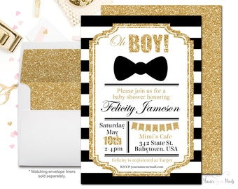 Striped Boys Baby Shower Invitations, Black and Gold Invitation, Baby Shower Invitation Boy, Oh Boy, Glitter Baby Shower, Printing Service