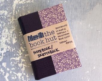 Handbound Sketchbook in Purple Goatskin and Handmade Bookcloth