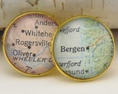 Custom Map Gold Cufflink, Keep a memory Alive