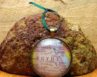 Egypt Map Christmas Ornament,  Keep a memory Alive / HONEYMOON Gift / Wedding Map Gift / Travel Tree Ornament / Corporate gift