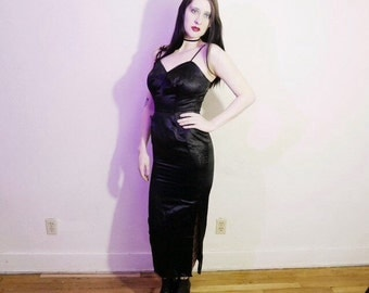 Vtg 50s black printed satin empire waist pin up wiggle dress size xs s