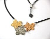 Wine leaf rose gold pendant pendant, 24 karat rose gold and oxidize silver plated pendant
