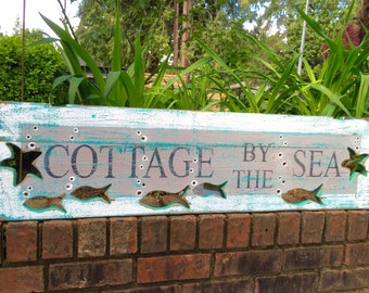 Beach House Sign Cottage by the Sea Fish Starfish Wall Art Coastal Decor Cabin Cottage by CastawaysHall - READY TO SHIP