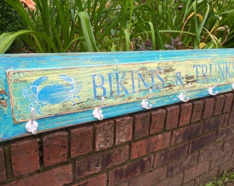 Beach House Hook Rack Sign Turquoise Bikinis and Trunks Coat Rack by CastawaysHall - Ready to Ship