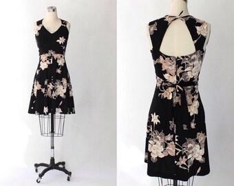 1970s Black Floral Mini Dress // 70s Vintage Open Back Sleeveless Knit Dress // Small