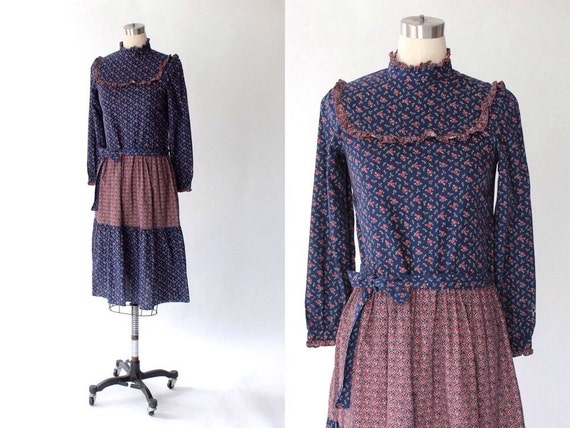 1970s Givenchy Calico Cotton Dress // Vintage Navy Blue & Red Belted Floral Dress // Small