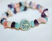 Tree of Life memory wire bracelet with mixed stone bead chips, hippie, meditation, music festivals, ceramic bead, boho, gypsy