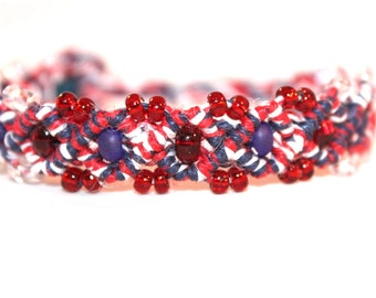 Red white and blue hemp bracelet with glass seed beads, hippie, America, usa, patriotic, hippie, natural, macrame, micromacrame