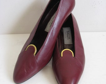 Vintage 1980s Shoes BALLY of Switzerland Wine Tone Gold Leather Shoes 9M