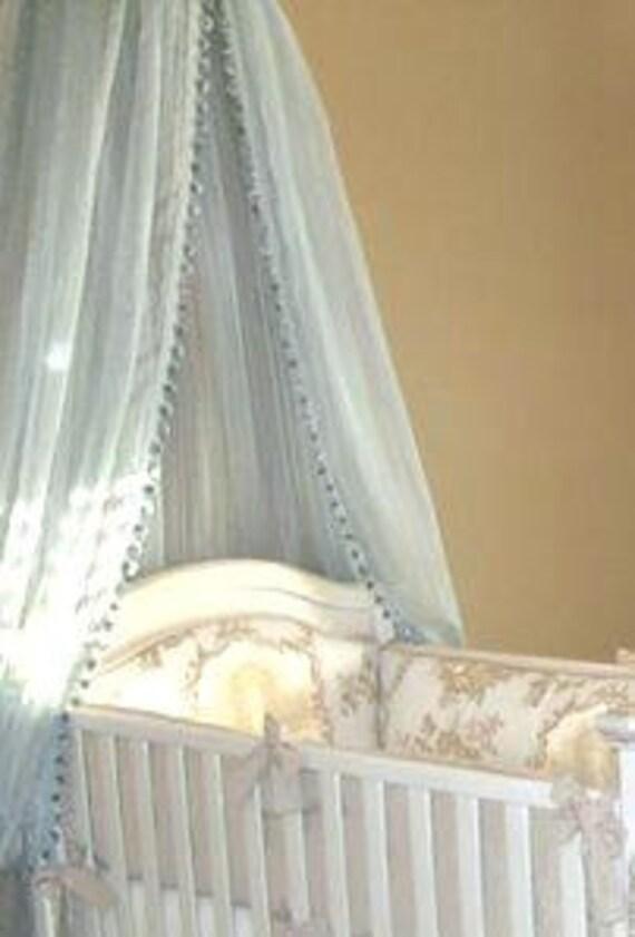 blue sheer bed canopy with pom pom trim. Black Bedroom Furniture Sets. Home Design Ideas