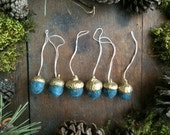 Wool acorn Christmas ornaments, set of 6, Teal Heather, with gold-colored caps, miniature acorn ornaments, mini teal wool ornaments