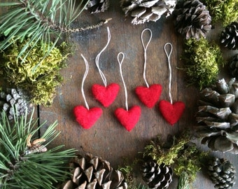 Felted wool heart ornaments, wholesale set of 100, Red, wholesale ornaments, red heart ornaments, miniature christmas ornaments, felt hearts