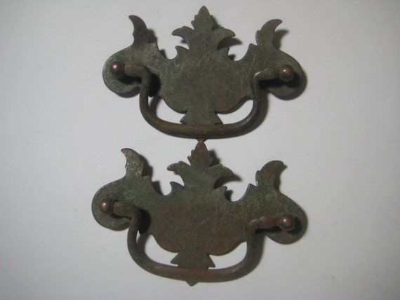 Vintage Drawer Pulls Chippendale Style Rusty Stamped Metal