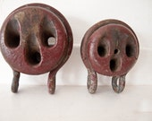 2 Antique Sailing Ship Rigging Pulleys