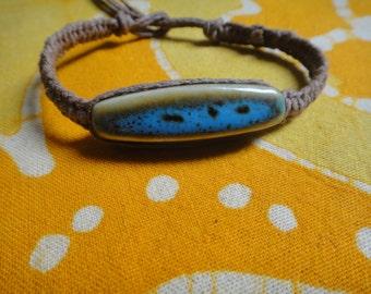 Turquoise Ceramic Bead Hemp Bracelet / Anklet