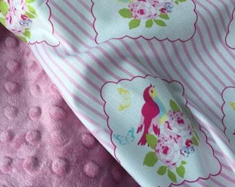 Baby Girl Blanket, Shabby Chic Blanket, Baby Girl Bedding,Floral Blanket, Bird Blanket, Girl Minky Blanket, Pink Nursery Blanket