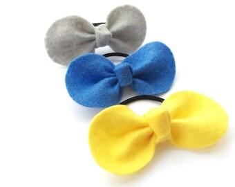 Girls Hair Ties - Toddler Hair Ties - Baby Hair Ties - Felt Hair Bow - Felt Hair Tie - Gray Hair Tie - Yellow Hair Tie - Blue Hair Tie