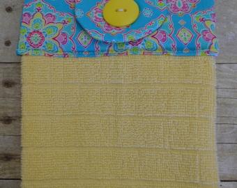 Set of Two Handmade Hanging Kitchen Towels, Geometric, Crochet, Mandala, Kitchen Towels, Hanging Towels, Bathroom Towels