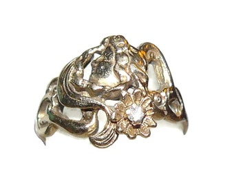 Art Nouveau 14K gold Ladies Ring Size 4 3/4