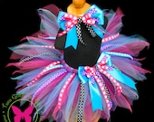 Custom Tutu with Ribbon Streamers and Matching Hair Bow