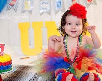 Red Blue Yellow Green Birthday Tutu...Primary Cake Smash Tutu...Rainbow Birthday Tutu, Clown Tutu, Dance Tutu