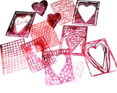 Hearts Artist Trading Card stencil bits set