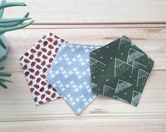 Baby bandana bib -  set of three