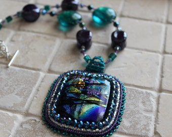 Dichroic glass bead embroidery pendant on beaded necklace, glass necklace, glass with bead embroidery, bead embroidery pendant on necklace