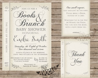 Vintage Antique Books and Brunch Baby Shower Suite - DIY Printing OR Professional Printing