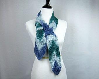 Hand Knit Scarf, Ultrasude Yarn, Chevron Pattern, Blues Greens,  High Fashion, Handmade, Spring Summer, Ocean Tones, Designer Original, Gift