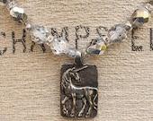 Silver Unicorn Jewelry Silver Crystal Unicorn Necklace Unique Neutral Boho Jewelry