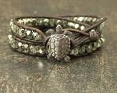 Unique Turtle Jewelry Silver Gray Sage Green Turtle Bracelet Sparkling Beaded Leather Wrap Bracelet