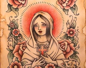 Virgin Madonna Colored Pencil Illustration