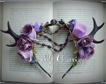 "Elegant  Enchanted Mori  Goth deer horns antler hair band ""Demon  eyes """