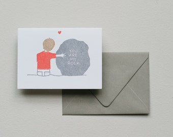 Letterpress Card - You Are My Rock