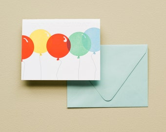 Letterpress Card - Birthday Balloons
