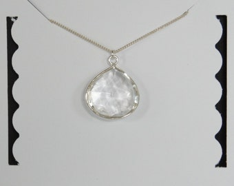 Sterling Silver, Clear Quartz Necklace, Clear Drop Necklace, Gemstone Necklace