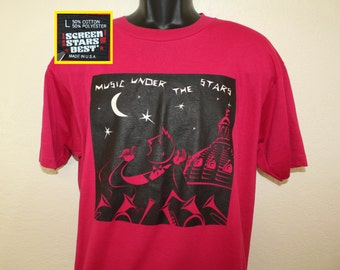 Music Under the Stars vintage t-shirt L/XL fuchsia pink 80s 90s Des Moines Iowa