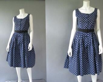 50s Vintage Cotton Summer Dress - 1950s Blue and Black Diamond Print Cupcake Style Sundress