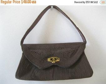 ON SALE Vintage 1940s Corde Purse - Box Bag - Brown Corde Handbag