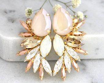 Ivory Cream Earrings, Statement Earrings, Bridal Earrings, Swarovski Earrings, Bridal Statement Earrings,Champagne Earrings,Beige Earrings