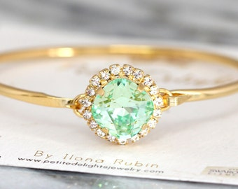 Mint Clear Bracelet, Bridesmaids Bracelets, Swarovski Blush Crystal Bracelet, Bridal  Bracelet,Bridal Cuff Bracelet, Crystal Bracelet