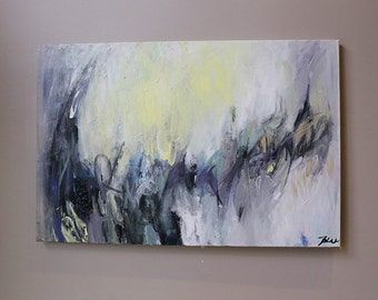 painting on canvas, Abstract painting,Acrylic Painting,gray ,yellow ,original painting ,expressionist abstract