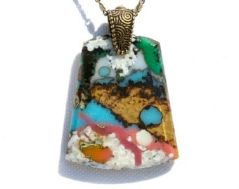 Fused Glass Pendant, Fused Glass Jewelry, Organic Stone Agate Look, Artistic Glass, Colorful - Pink Blue Tan Multi-Color (Item #10759-P)
