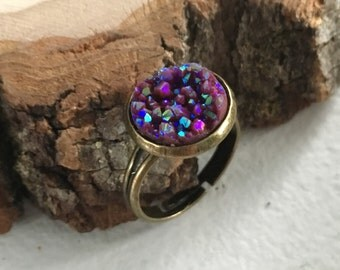 Pretty purple Druzy ring