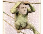Original Collage on Antique Cabinet Card - Snow Monkey - Surreal Pop Surrealism Victorian Men Retro Animal Winter Weird Art iwearpartyhats