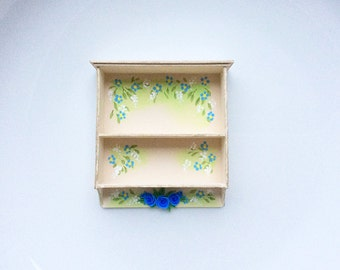 Dollhouse kitchen shelf unit with a pretty cottage chic flower design to fit 1:12 scale miniature dollhouse