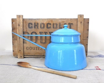 Antique Enamelware Large Double Boiler 2.5 Qts. Blue White Early 1900s Germany Usable Kitchen Cookware Collectible  Mark Kitchen Decor
